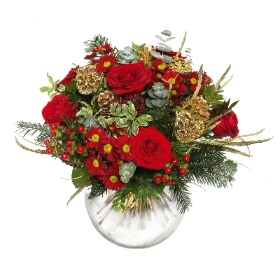 Red and Gold Christmas Bouquet